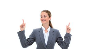 Blonde businesswoman pointing her fingers up stock footage