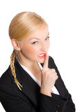Blonde businesswoman show quiet sign Royalty Free Stock Photos