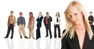 Blonde businesswoman standing
