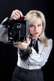 Blonde with  camera Royalty Free Stock Images