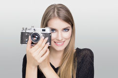 Blonde camera Royalty Free Stock Images