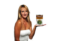 Blonde with a Can of Cranky-flavor Attitude. A lovely blonde holding a fictitious can of cranky-flavor attitude with an anthropomorphic green pepper on the label Stock Photos