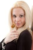 Blonde with candy Stock Images