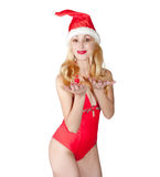The blonde in a cap of Santa Claus. Royalty Free Stock Images