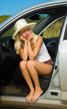 Blonde in the car Stock Image