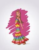 Blonde cartoon hippie Stock Photos