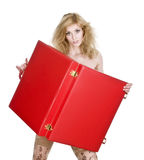 Blonde and case. Blonde in a red bikini with  case, isolated on a white background Royalty Free Stock Image