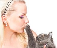 Blonde and cat Stock Photography