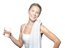 Blonde Caucasian Drinking Water After Workout. With Towel Royalty Free Stock Images