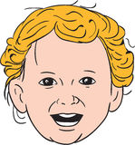Blonde Caucasian Toddler Head Smiling Drawing Royalty Free Stock Image