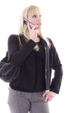 Blonde on cell phone Stock Photography