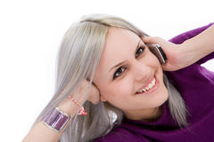 Blonde on a Cell phone Royalty Free Stock Photo