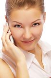 Blonde with cellphone Stock Photos