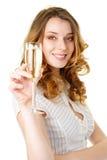 blonde champagne glass woman young Στοκ φωτογραφία με δικαίωμα ελεύθερης χρήσης