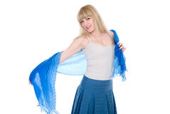 Blonde Charming com um lenço azul aberto Foto de Stock