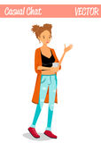 Blonde Chatty Girl Cartoon Character Illustration Holding a Cup of Coffee Royalty Free Stock Image