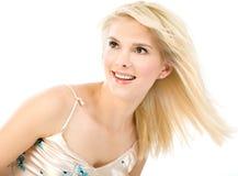 Blonde che osserva in su Fotografia Stock