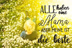 Blonde Child, Daisy, Calligraphy Beste Mama Means Best Mom stock photos