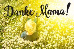 Blonde Child, Daisy, Calligraphy Danke Mama Means Thank You Mom royalty free stock images