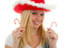 Blonde christmas girl Stock Photography
