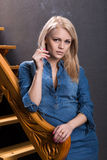 Blonde with a cigarette Royalty Free Stock Photo