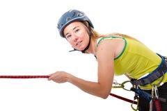 Blonde climbing woman Stock Photos