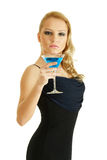 Blonde with cocktail Stock Images