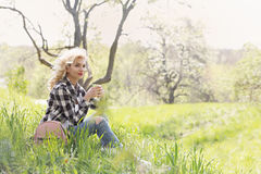 Blonde with coffee Stock Images