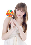 Blonde with color lollipop Stock Photos