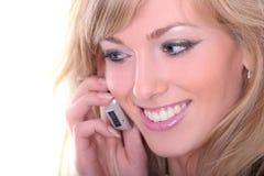 Blonde com móbil Imagem de Stock Royalty Free