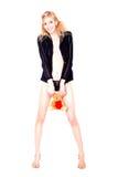 Blonde com um brinquedo Imagens de Stock Royalty Free