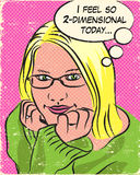 Blonde Comic Book Girl. Thoughtful Blonde Comic Book Style Girl Royalty Free Stock Images