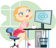 Blonde and computer. Young girl the blonde at office behind the computer Royalty Free Stock Photography