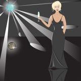 Blonde con el cubilete stock de ilustración