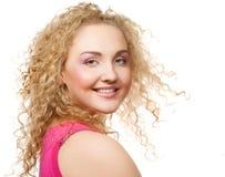 Blonde con el pelo rizado Fotografía de archivo