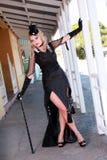 Blonde con el vestido negro Fotografía de archivo libre de regalías