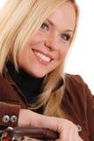 Blonde con i denti perfetti Fotografie Stock