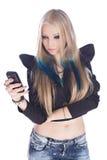 Blonde con il telefono Fotografia Stock