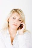 Blonde con los teléfonos móviles Imagen de archivo
