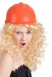 Blonde in the construction helmet Stock Image