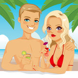 Blonde Couple Drinking Cocktail Stock Photo