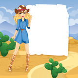 Blonde Cowboy Girl In Desert. Vector illustration of girl in a cowboy hat and high sandals in the desert Royalty Free Stock Photo