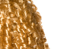 Blonde curly hair. With white background Stock Images