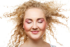 Blonde with curly hair Royalty Free Stock Photos