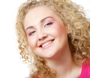 Blonde with curly hair Stock Photos