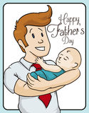 Blonde Dad Celebrating Father's Day with Baby in Arms, Vector Illustration. Smiling blond haired dad with red tie holding his newborn baby celebrating your first stock illustration