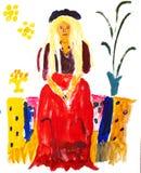 Blonde Dame, die in einem roten Kleid sitzt Lizenzfreies Stockfoto