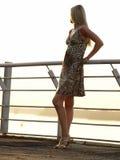 Blonde Dame, die nach vorn schaut Lizenzfreies Stockbild