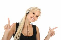 Blonde Dame und Musik Lizenzfreie Stockfotos