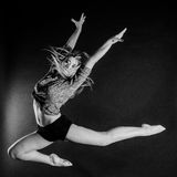 Blonde dancer, ballerina on black background Royalty Free Stock Image